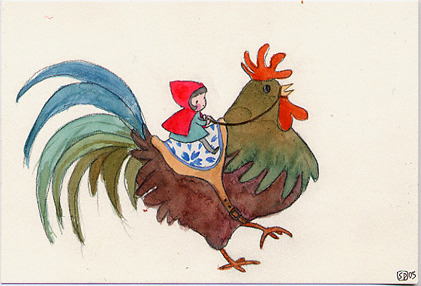 Medium postcard rooster rider 72dpi